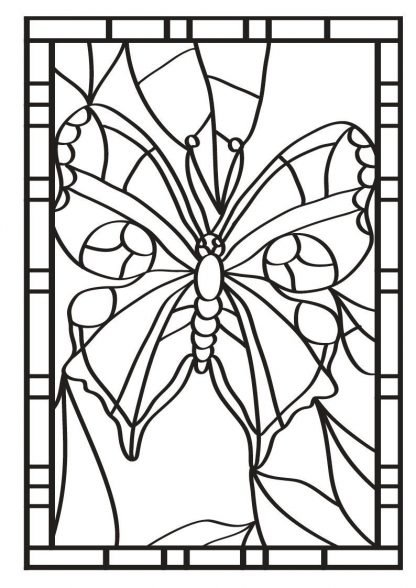 COLOUR IN STAINED GLASS DESIGNS BUTTERFLIES
