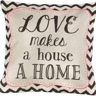 Chevron Retro Cushion Love Makes a House