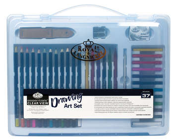 LARGE CLAMSHELL DRAWING ART SET 37 PIECES