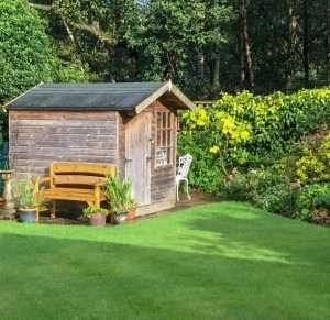 garden bench in garden